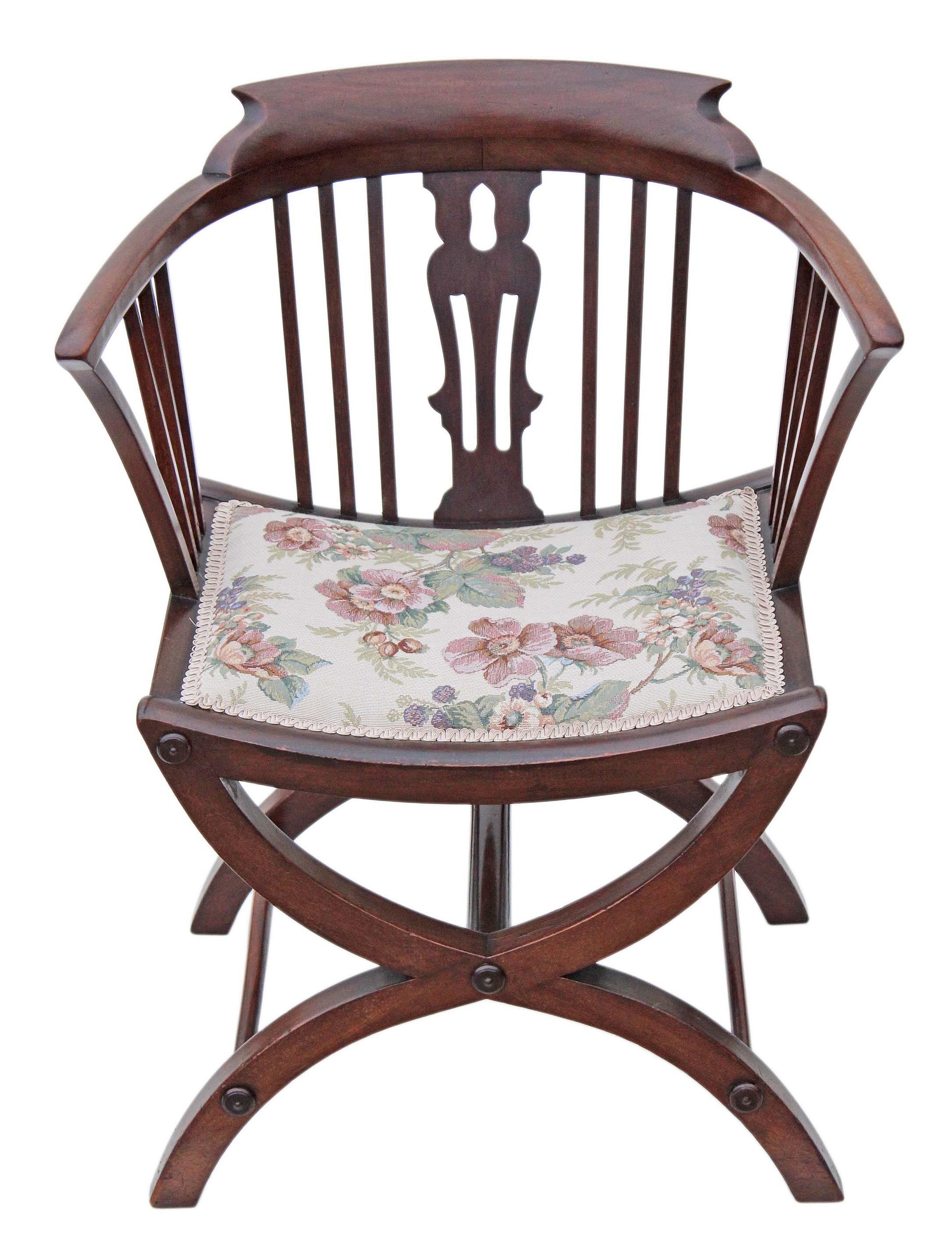 Best Victorian Mahogany X Frame Corner Chair Tub Chair Side With Pictures