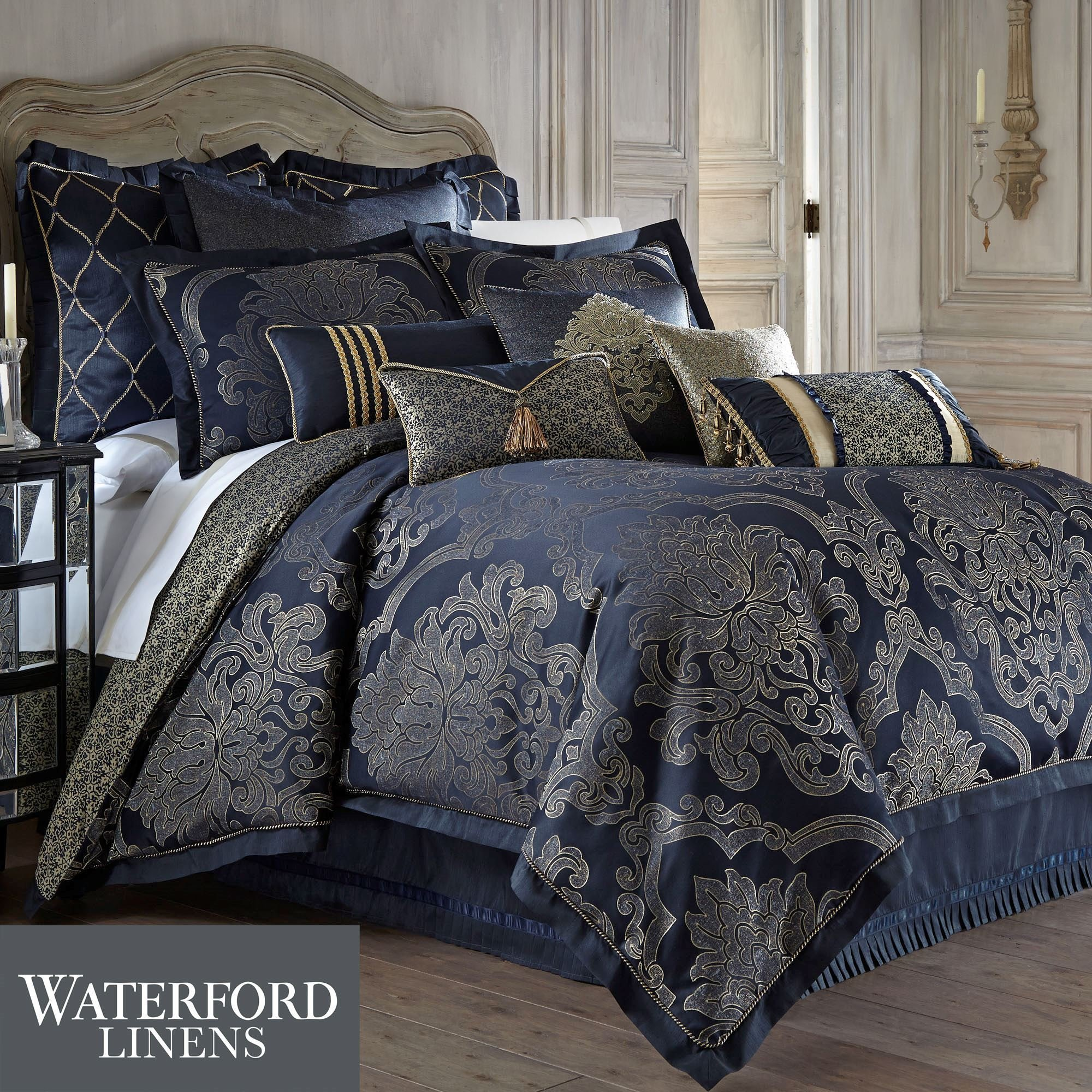 Best Vaughn Navy Comforter Bedding By Waterford Linens With Pictures