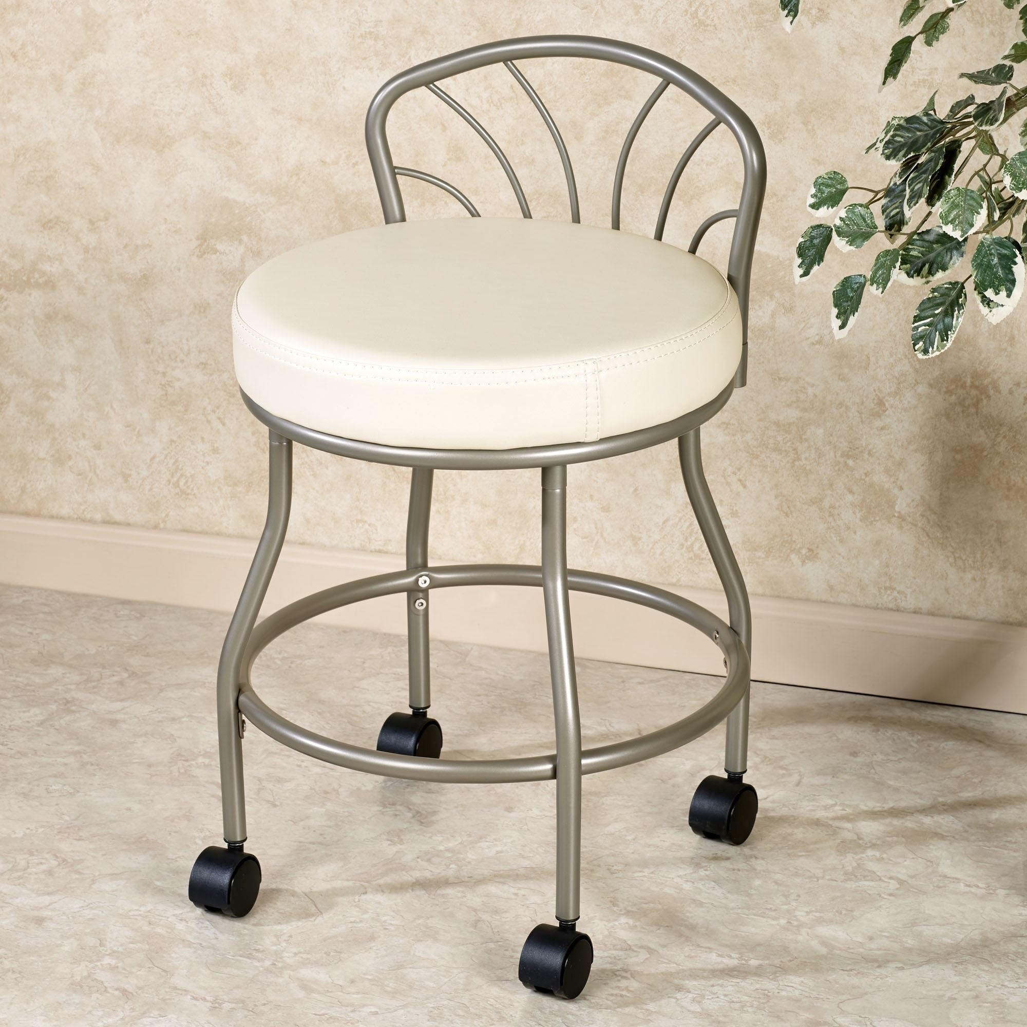 Best Flare Back Powder Coat Nickel Finish Vanity Chair With Casters With Pictures