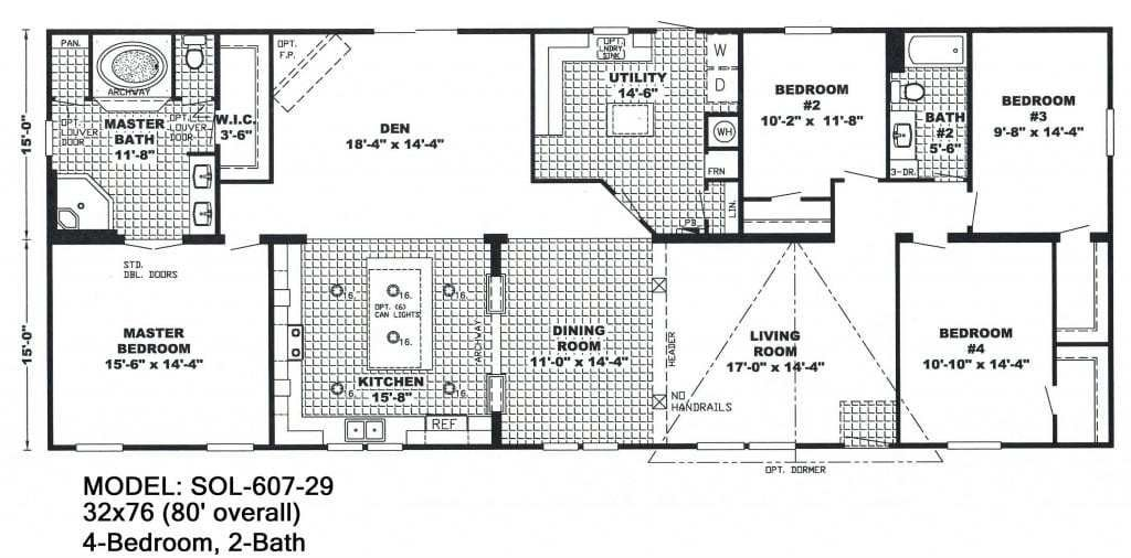 Best 4 Bedroom Double Wide Mobile Home Floor Plans Unique With Pictures