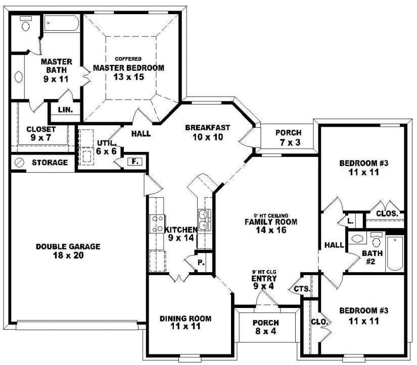 Best 3 Bedroom 2 Bath 1 Story House Plans Beautiful House Plans With Pictures