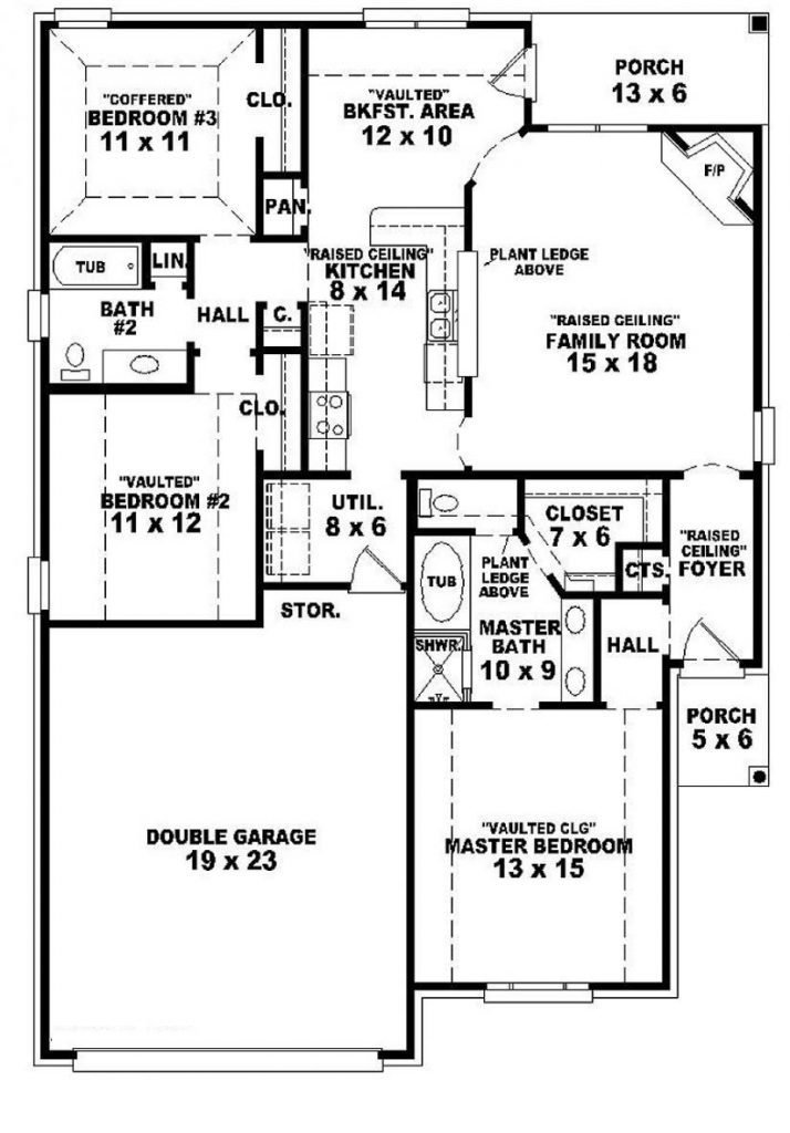 Best Lovely 3 Bedroom 2 Bath 1 Story House Plans New Home With Pictures