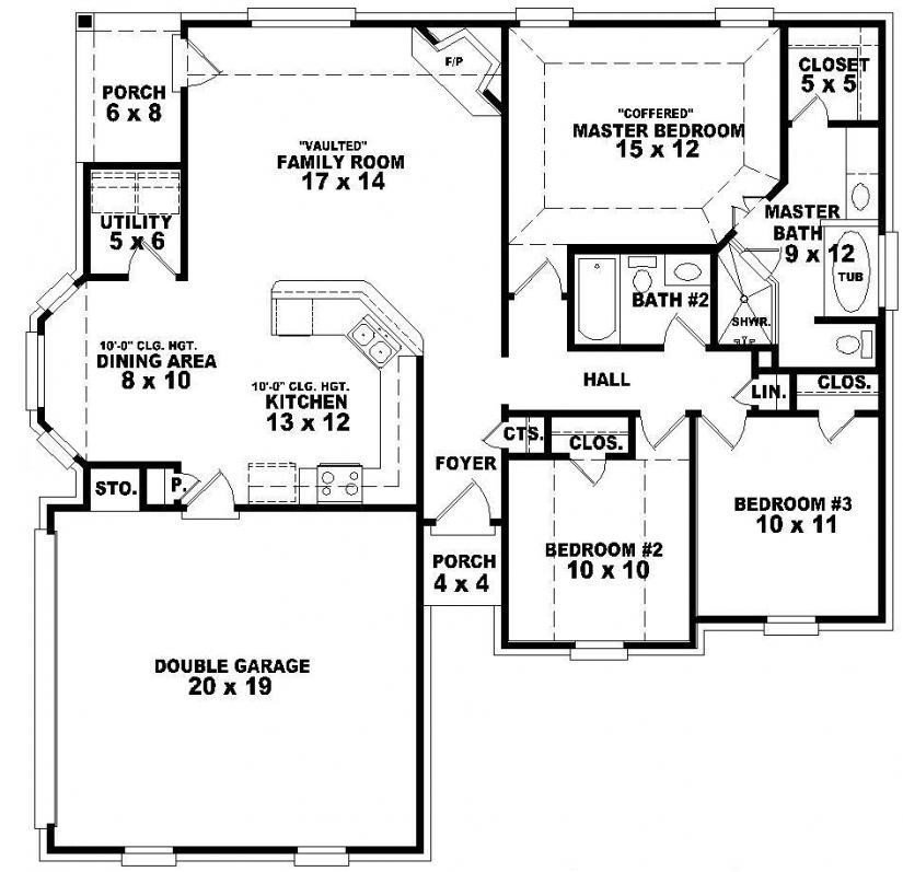 Best 3 Bedroom House Plans One Story Elegant E Story House With Pictures