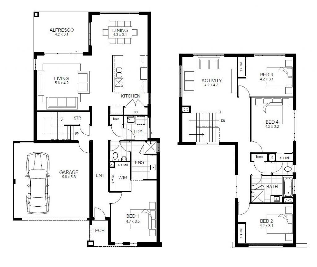 Best 4 Bedroom 2 Story House Floor Plans Unique Two Story 4 With Pictures