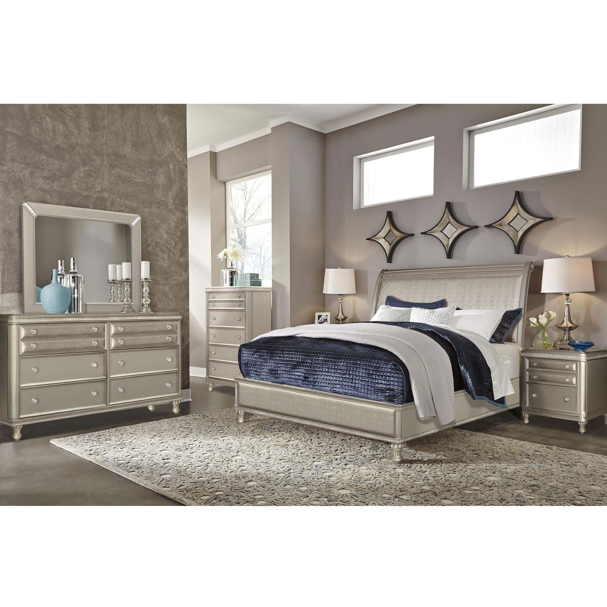 Best Riversedge Furniture Bedroom Groups 7 Piece Glam Queen Bedroom Collection With Pictures