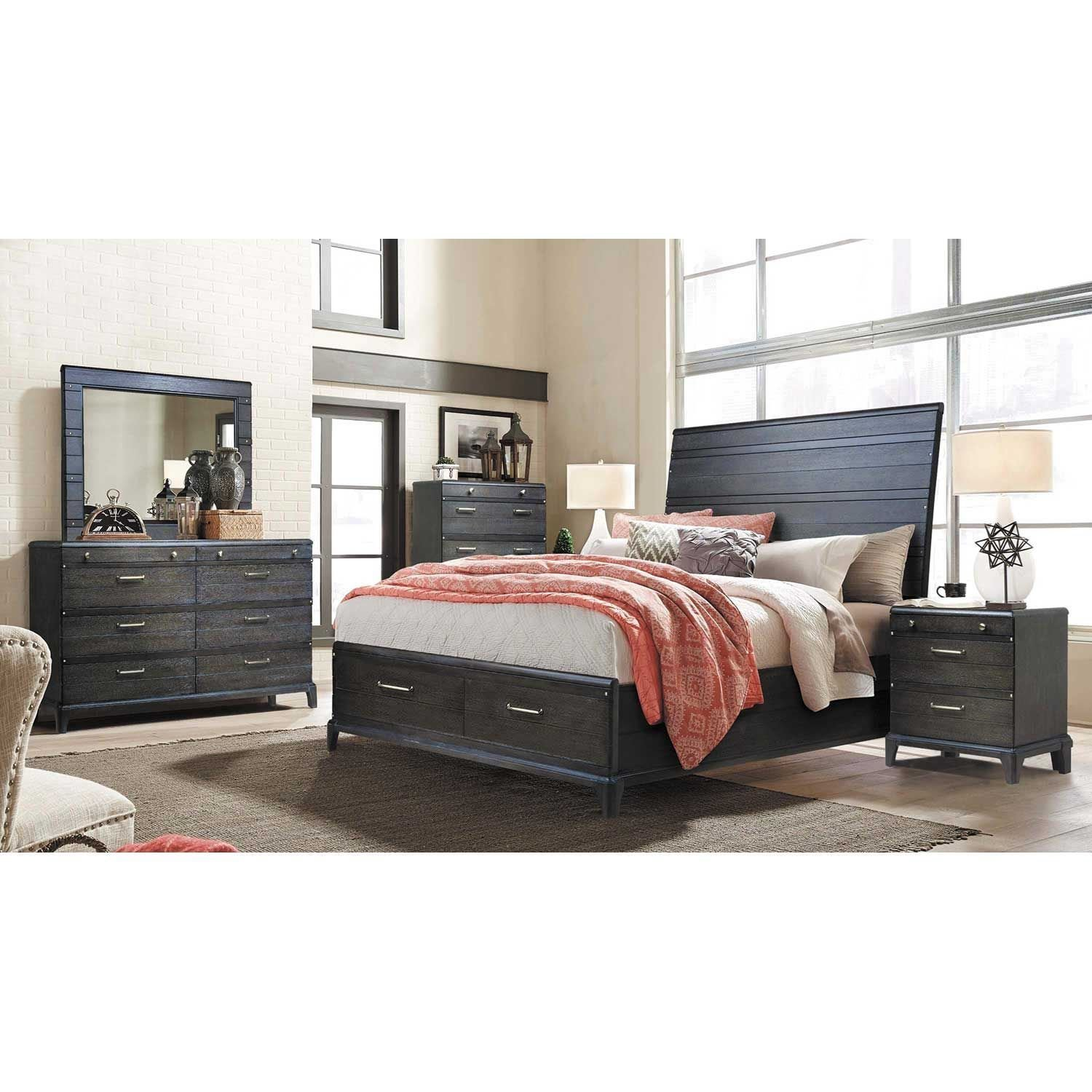 Best Hickory Dark 5 Piece Bedroom Set 450 Qbed 110 121 130 With Pictures