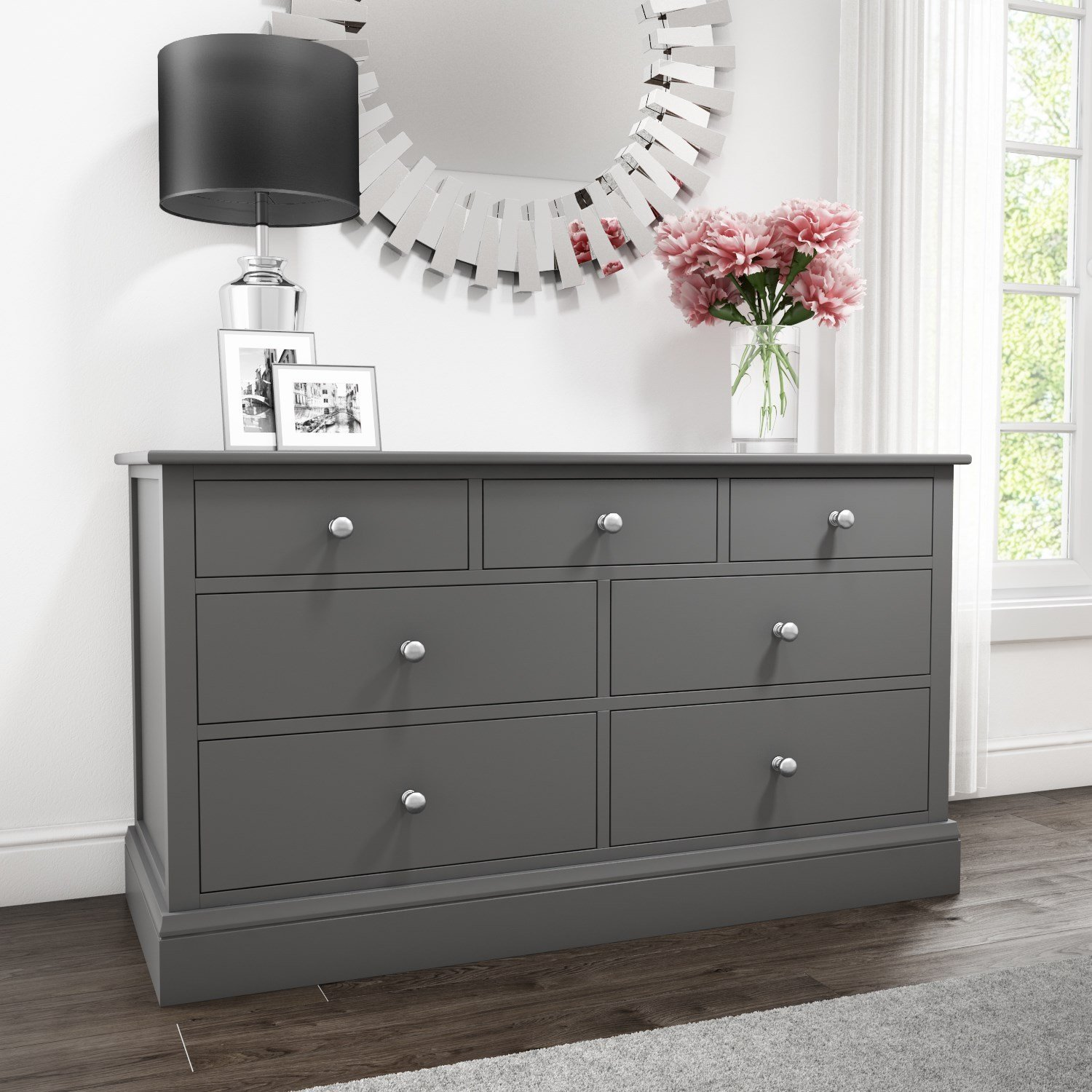 Best Grey Chest Of Drawers 4 3 Drawer Wide Storage Cabinet With Pictures