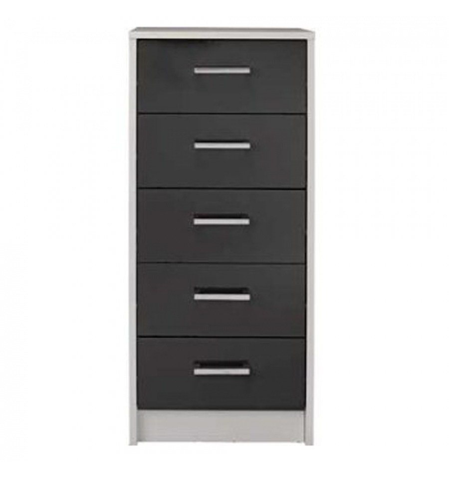 Best Sywell Graphite Gloss White 5 Drawer Chest 615 8200 With Pictures