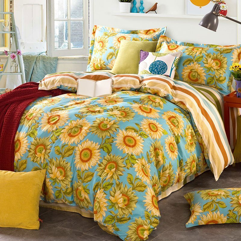 Best Bright Blue Sunflower Themed Cotton Bedding Set Ebeddingsets With Pictures