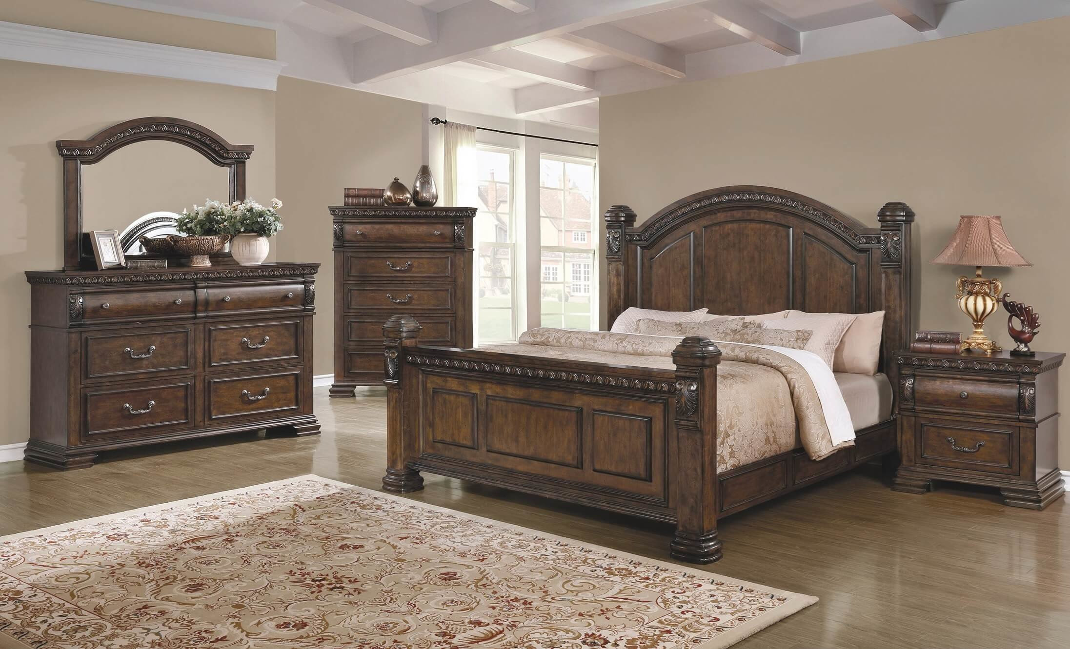 Best 4 Piece Satterfield Bedroom Set Warm Bourbon Finish Usa With Pictures