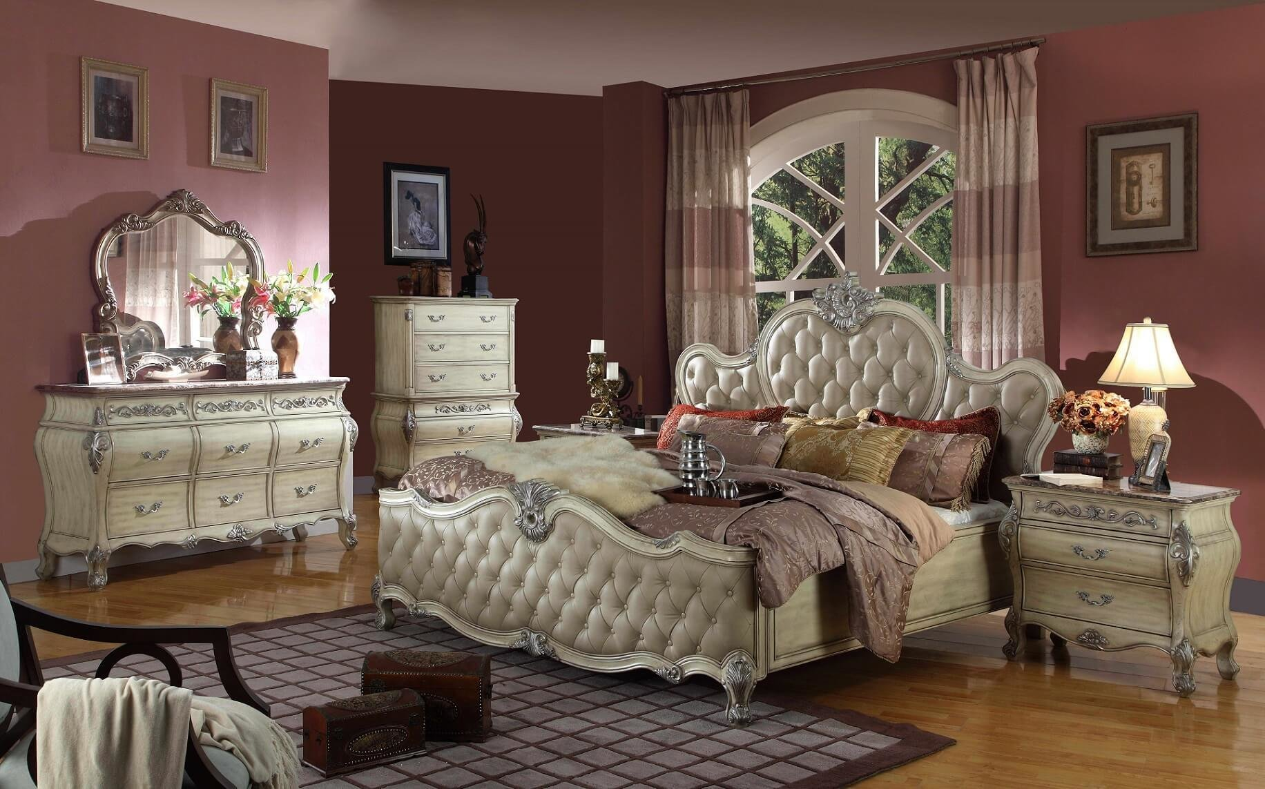 Best 4 Piece Crown Antique Beige Bedroom Set Usa Furniture Online With Pictures