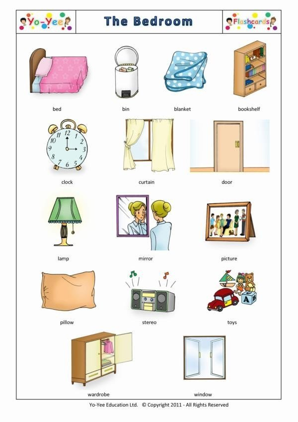 Best Bedroom Flashcards For Kids Vocabulary Cards With Pictures