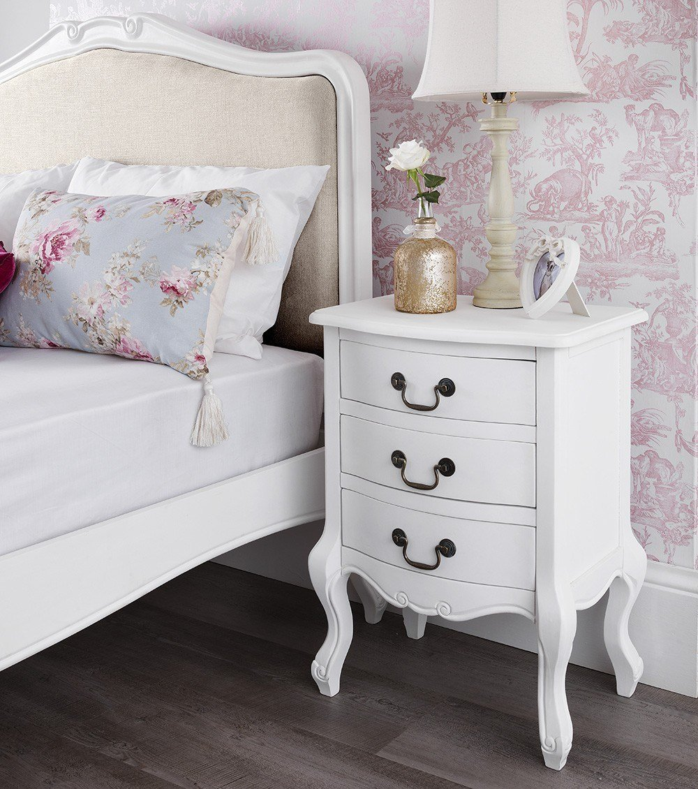 Best Shabby Chic White 3 Drawer Bedside Table Bedroom With Pictures
