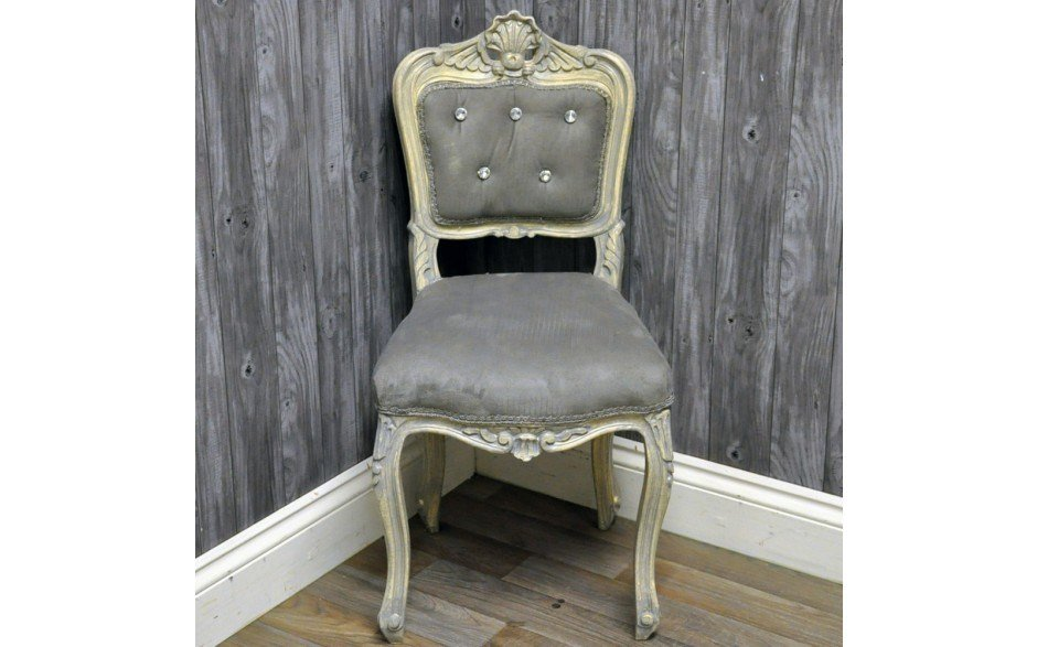 Best Silver Frame Grey Velvet Studded Bedroom Chair Accessories Furniture Direct With Pictures
