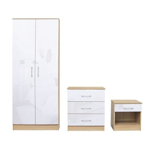 Best Dakoto Bedroom Set In White Gloss And Matt Oak Finish 41366 With Pictures
