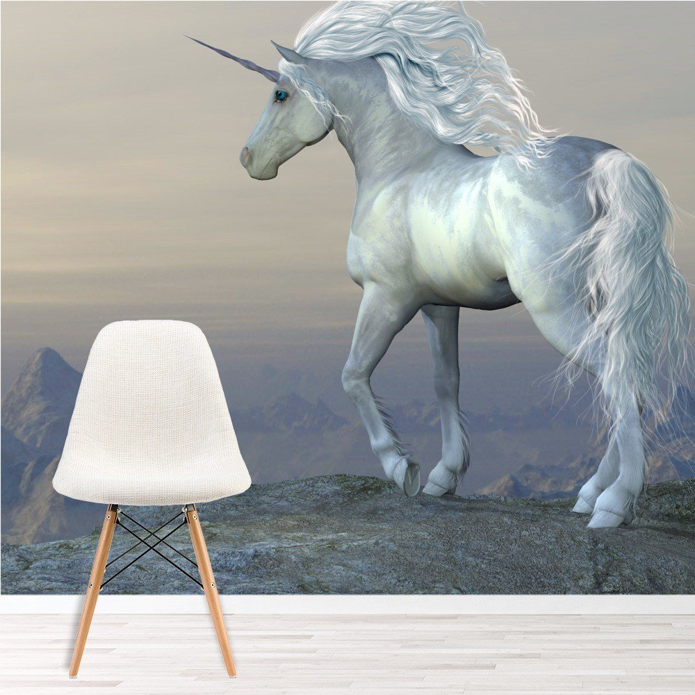 Best Beautiful White Unicorn Wall Mural Fairytale Photo With Pictures