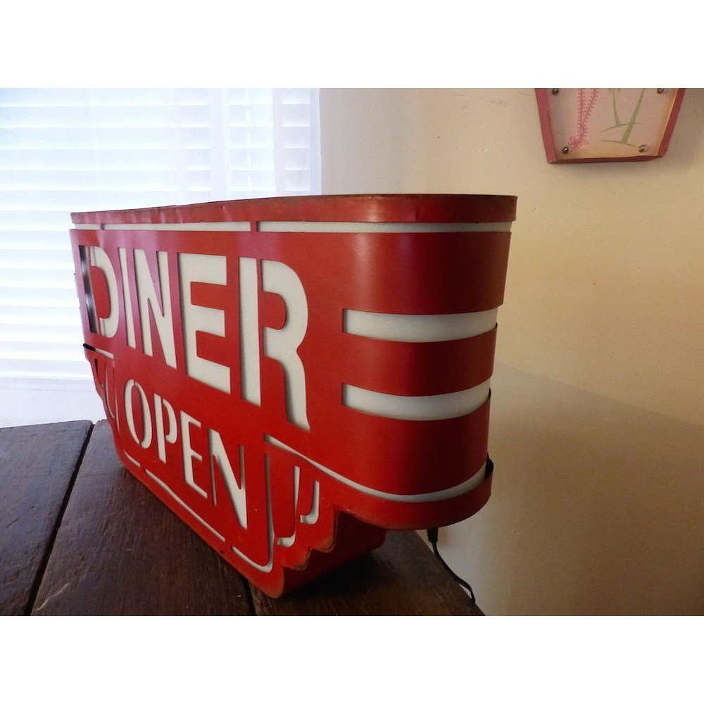 Best Red American Wall Diner Sign Light Up Metal Box With Pictures
