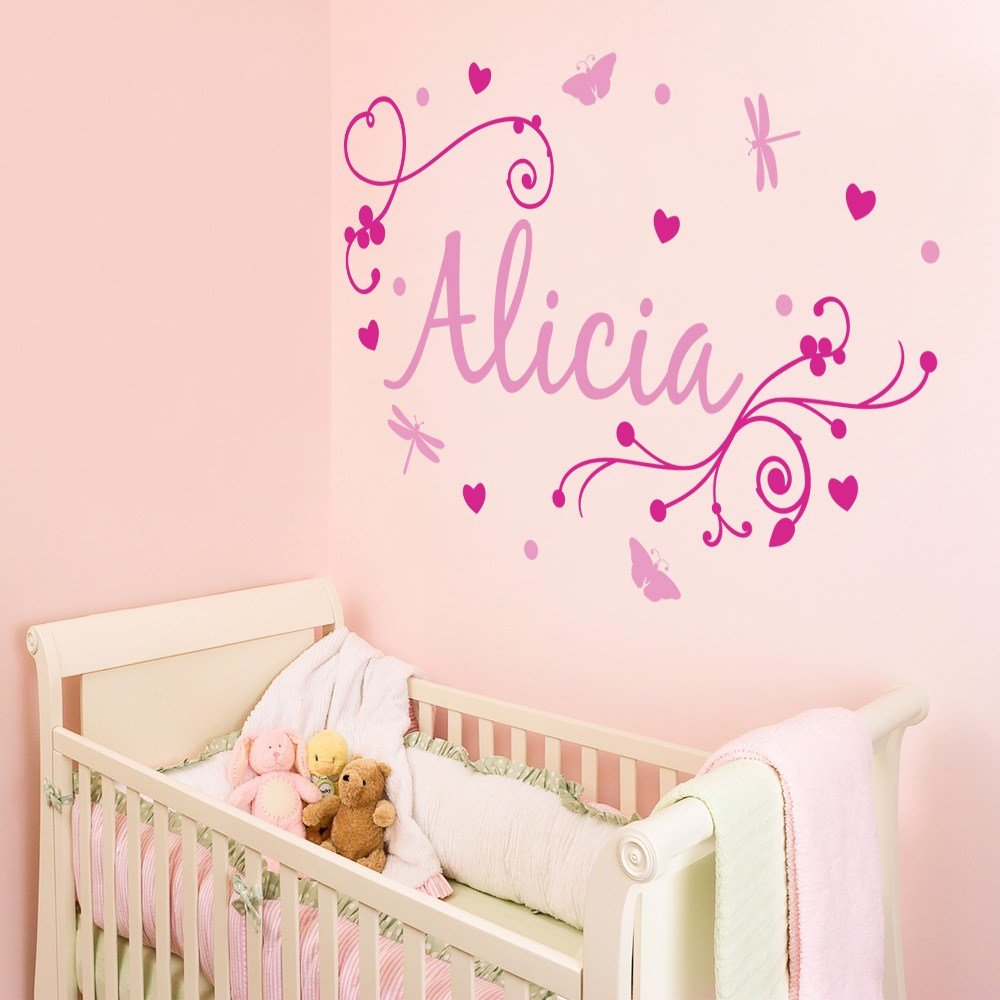 Best Girl S Swirly Personalised Name Wall Stickers Decals With Pictures