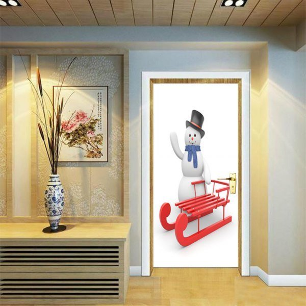 Best Dsu Christmas Snowman And Sleigh Wall Sticker Mural With Pictures