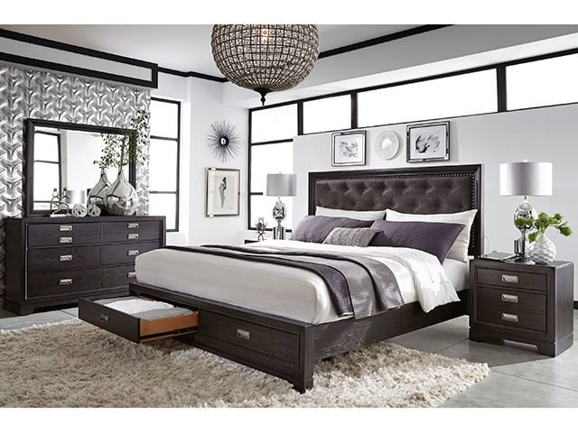 Best Front Street Upholstered King Bedroom Set The Furniture Mart With Pictures