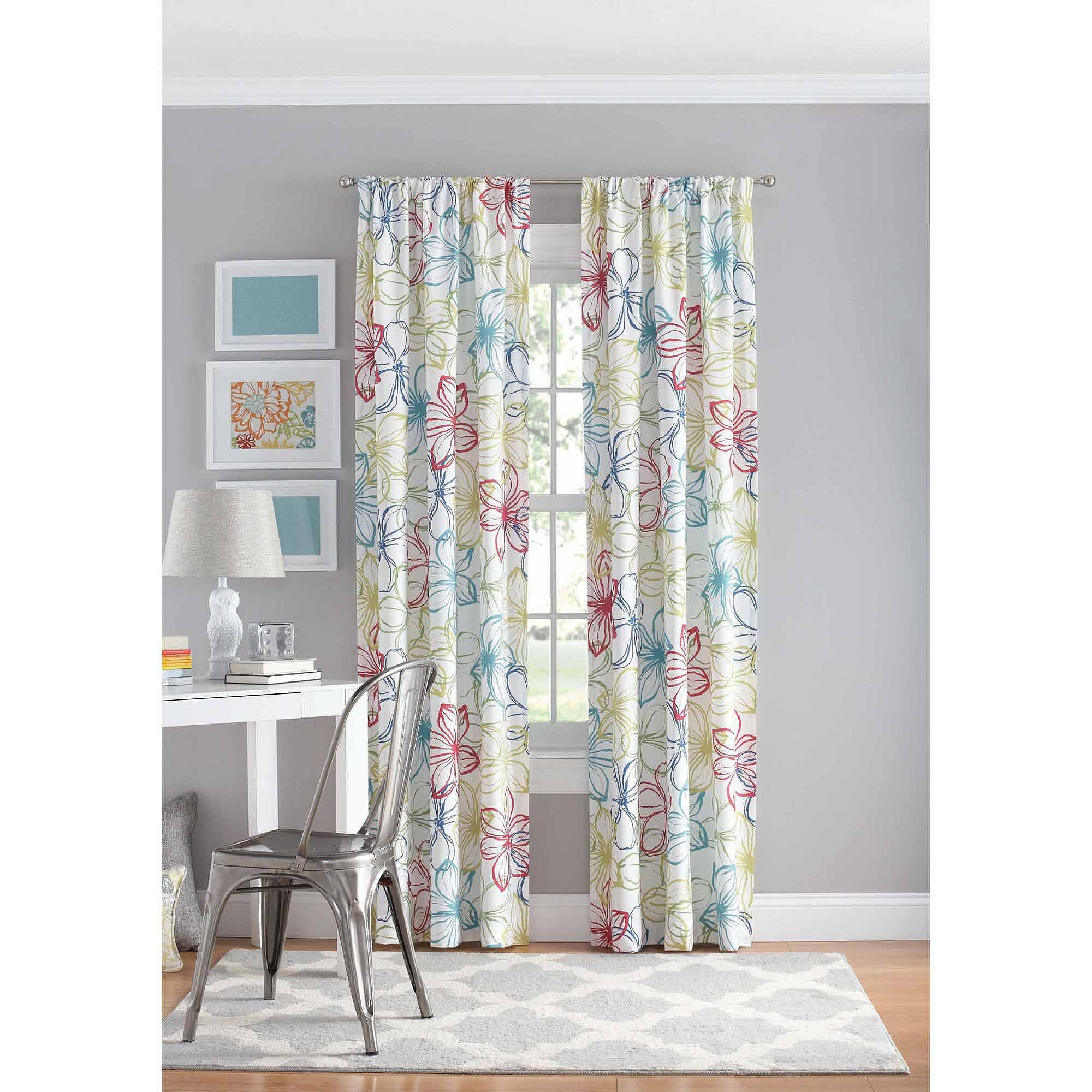 Best Your Zone Floral Bedroom Curtain Panel Walmart Com With Pictures