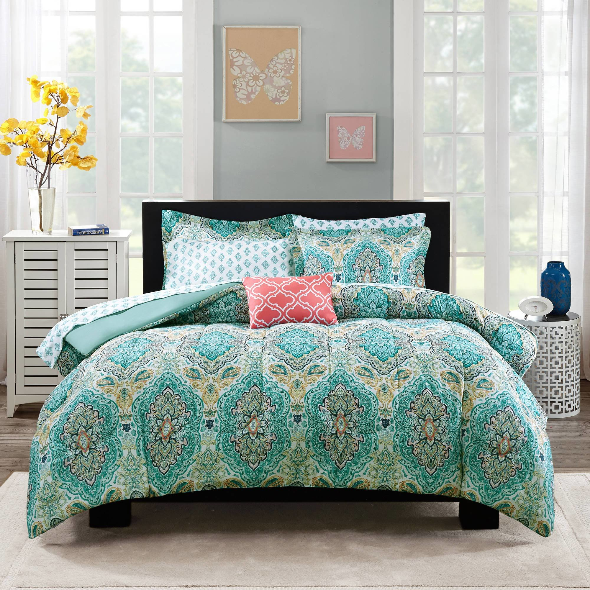 Best Mainstays Monique Paisley Bed In A Bag Comforter Set With Pictures