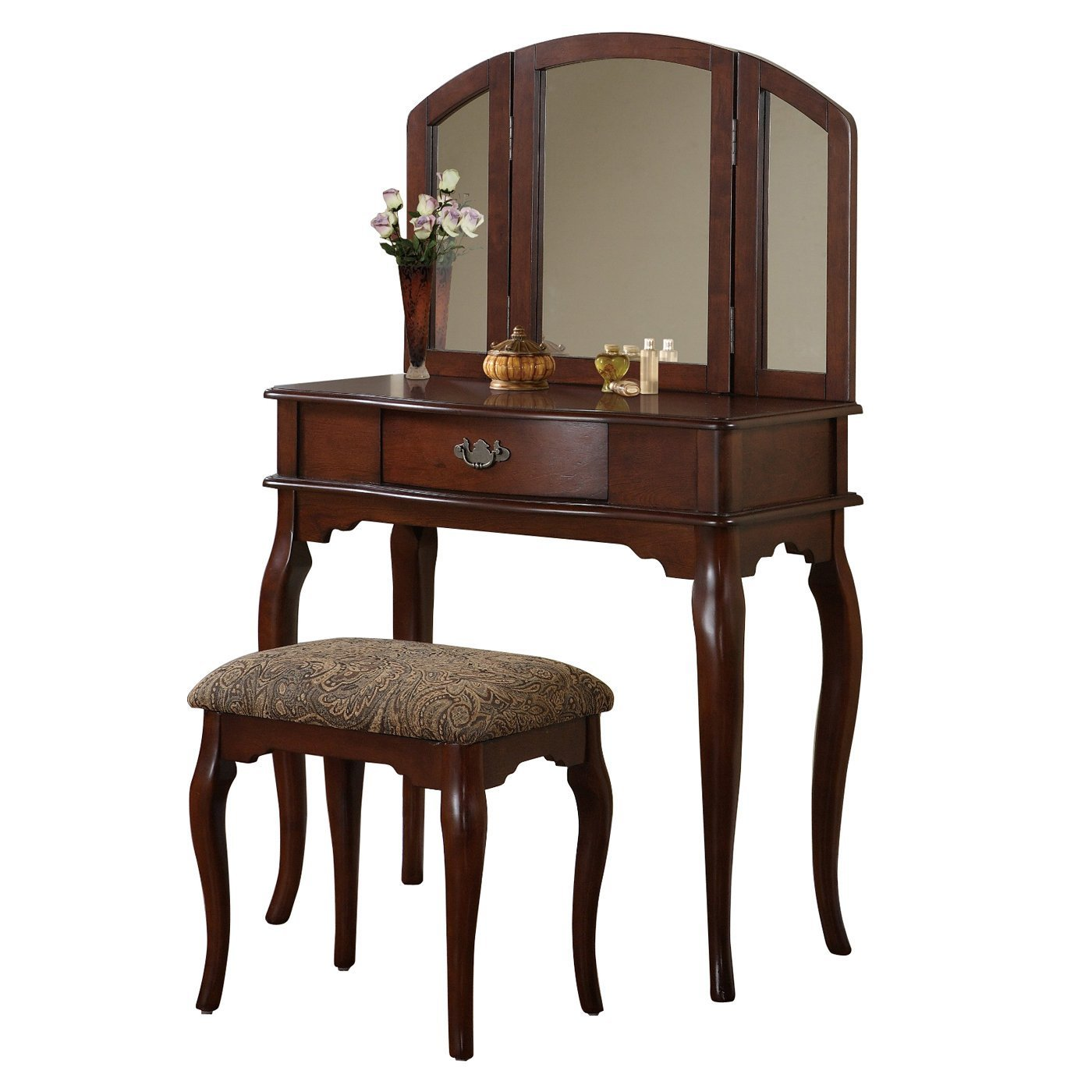 Best Poundex Furniture F406 Bobkona Jaden Vanity Set With Stool Atg Stores With Pictures