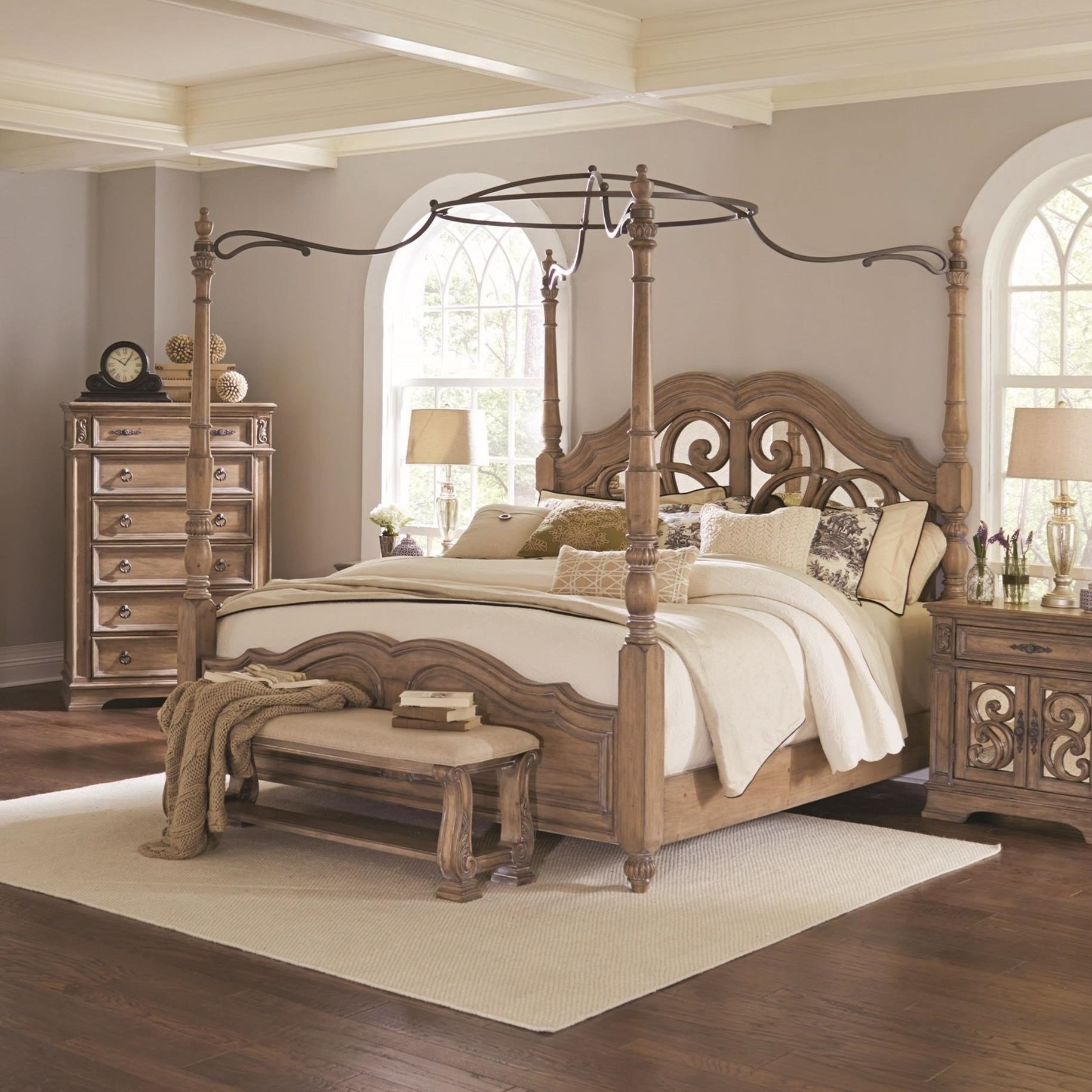 Best Coaster Ilana Queen Canopy Bed With Mirror Back Headboard With Pictures