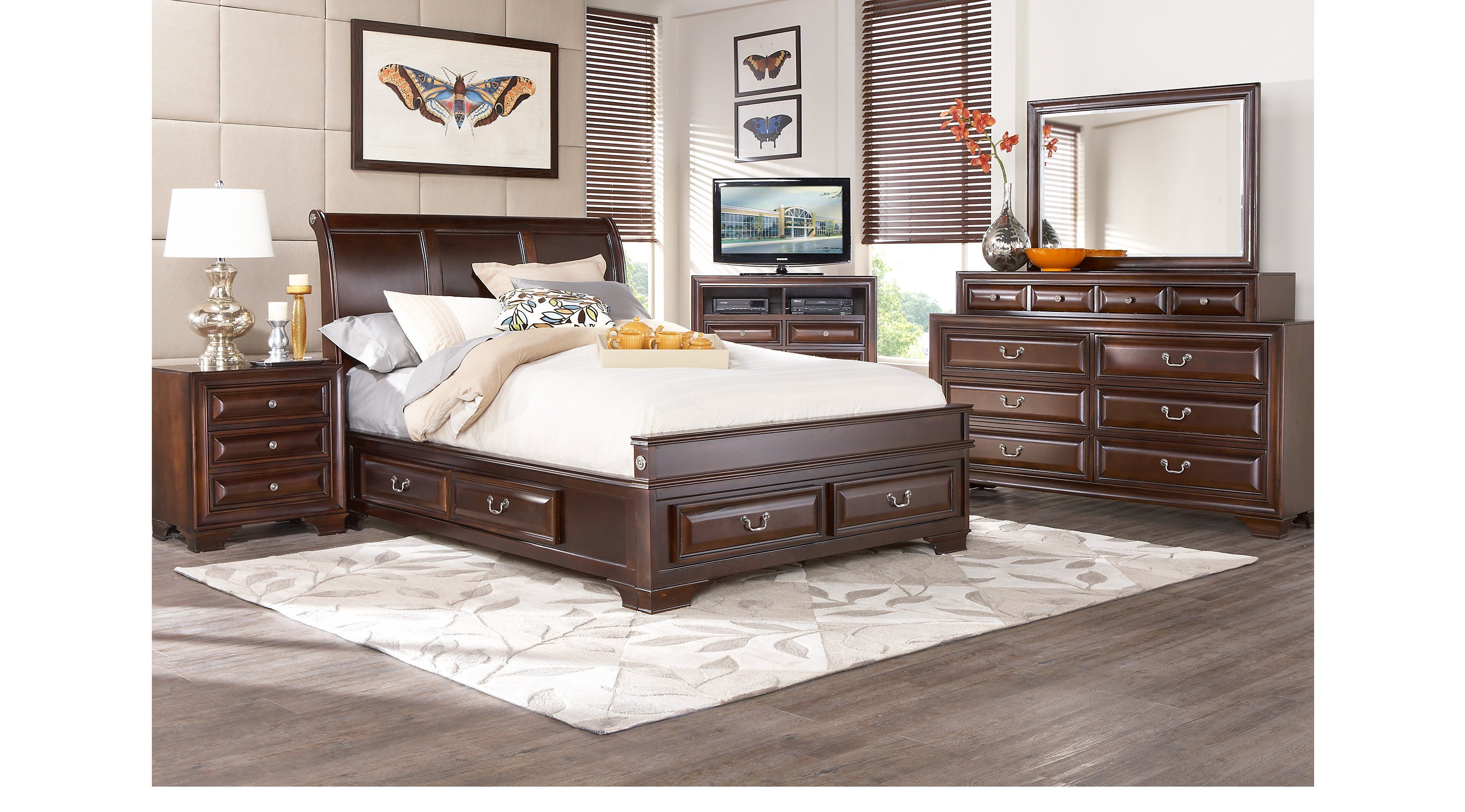 Best Mill Valley Ii Cherry 5 Pc King Sleigh Bedroom With With Pictures