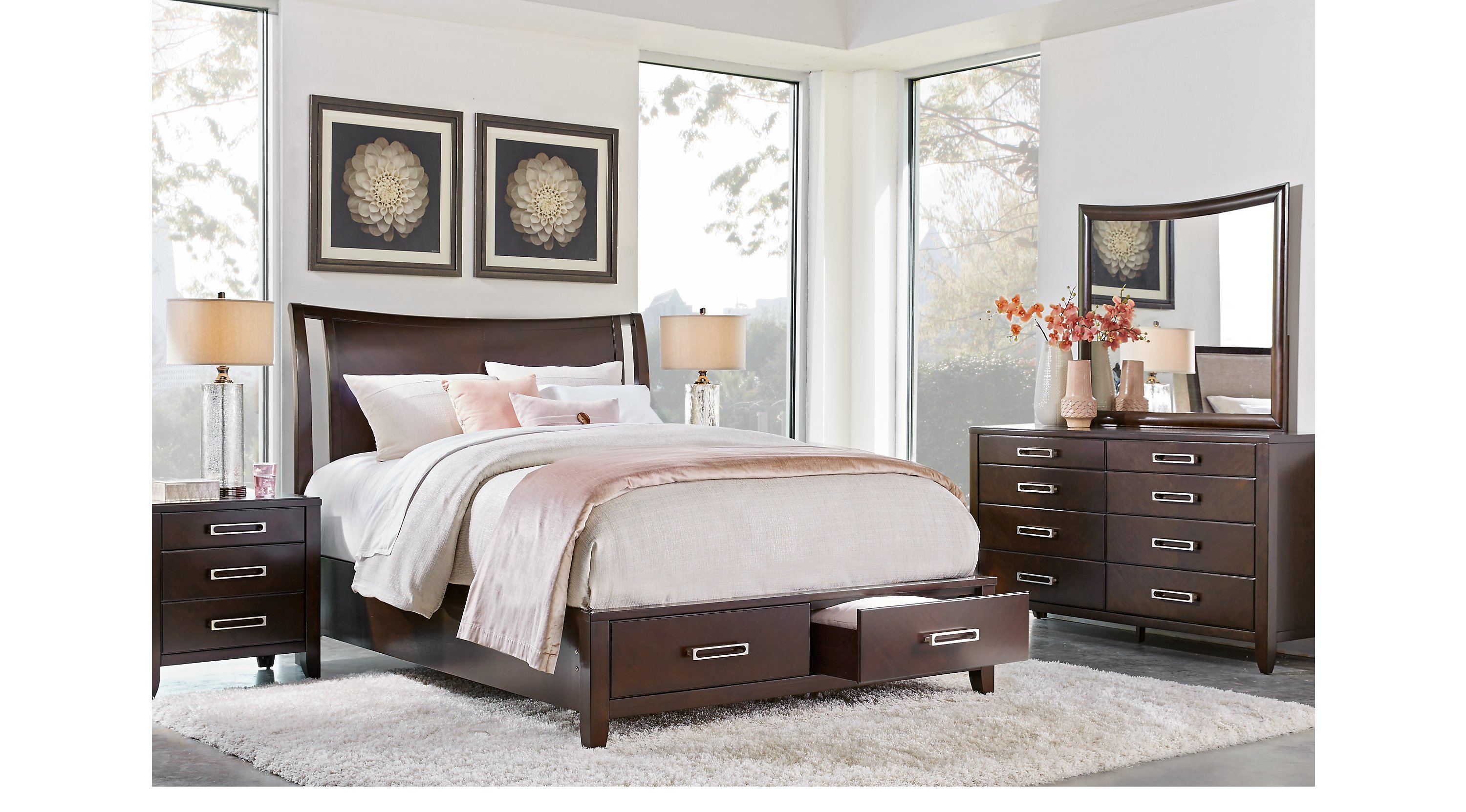 Best Bellissimo Java Dark Brown 5 Pc Queen Sleigh Bedroom With Storage Contemporary With Pictures