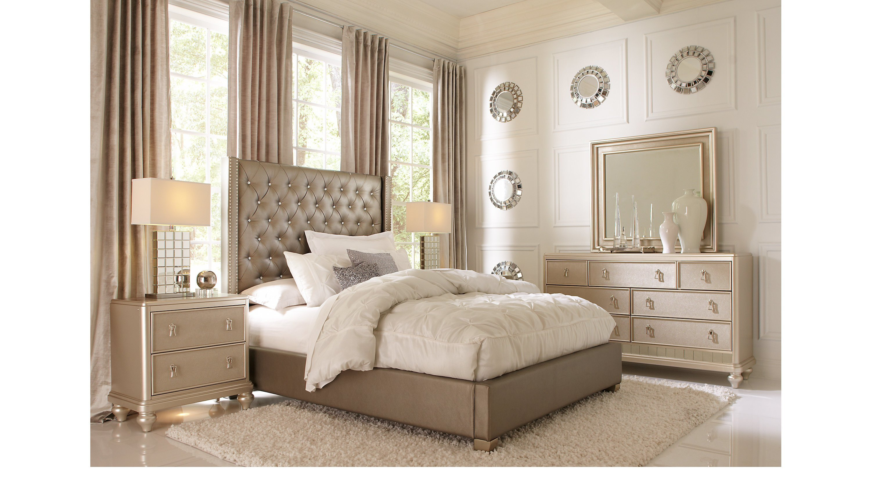 Best Paris Gray 5 Pc Queen Bedroom Upholstered Contemporary With Pictures