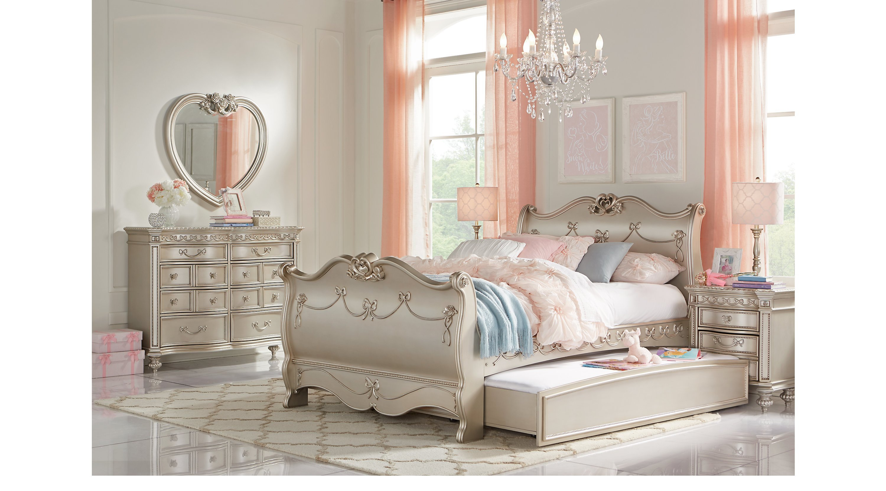 Best Disney Princess Silver 5 Pc Twin Sleigh Bedroom With Pictures