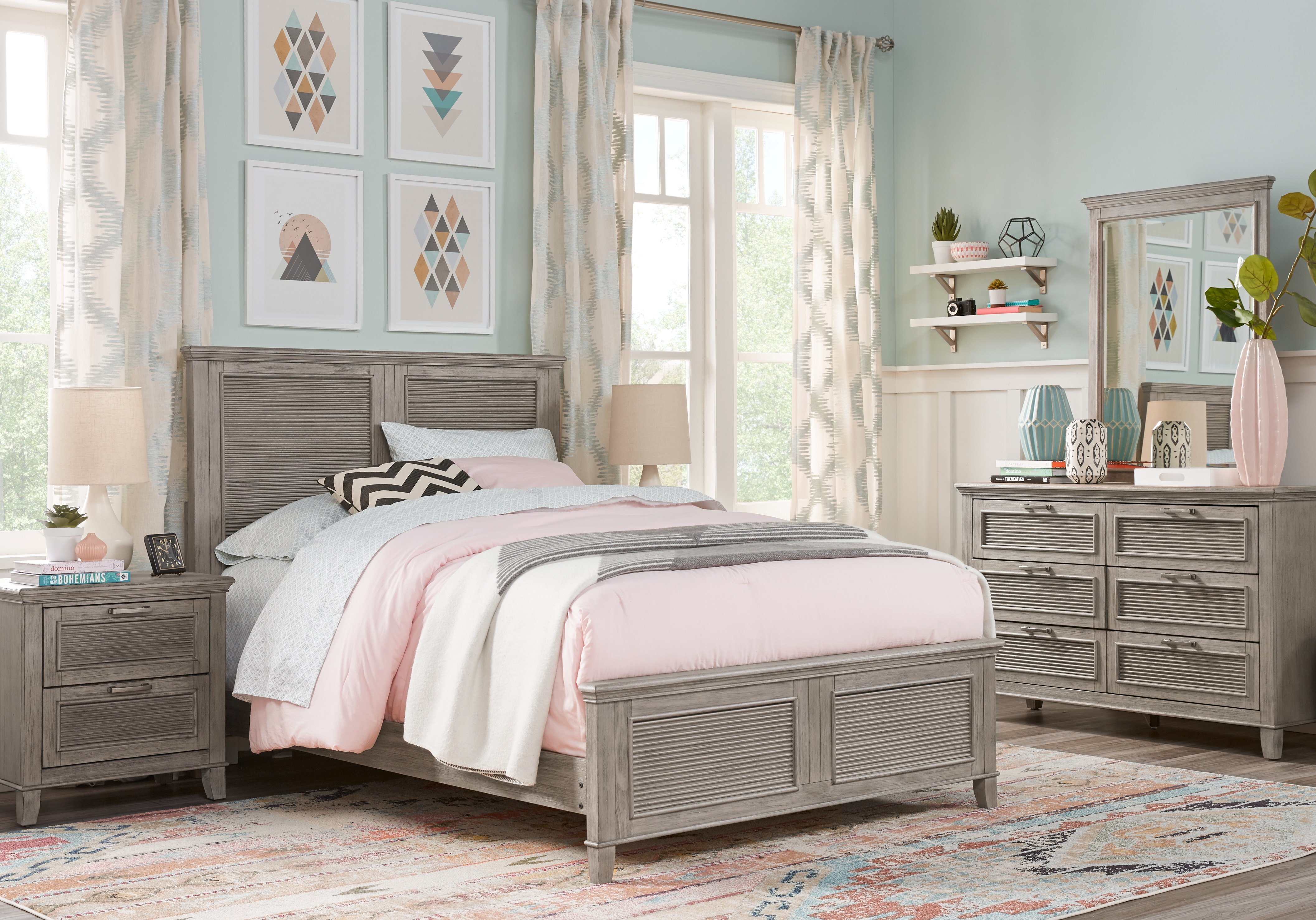 Best Dashel Gray 5 Pc Twin Panel Bedroom T**N Bedroom Sets Colors With Pictures