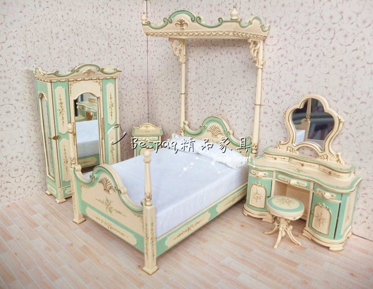 Best 1 12 Dollhouse Miniature Bed Belmont Blue Hand Painted With Pictures