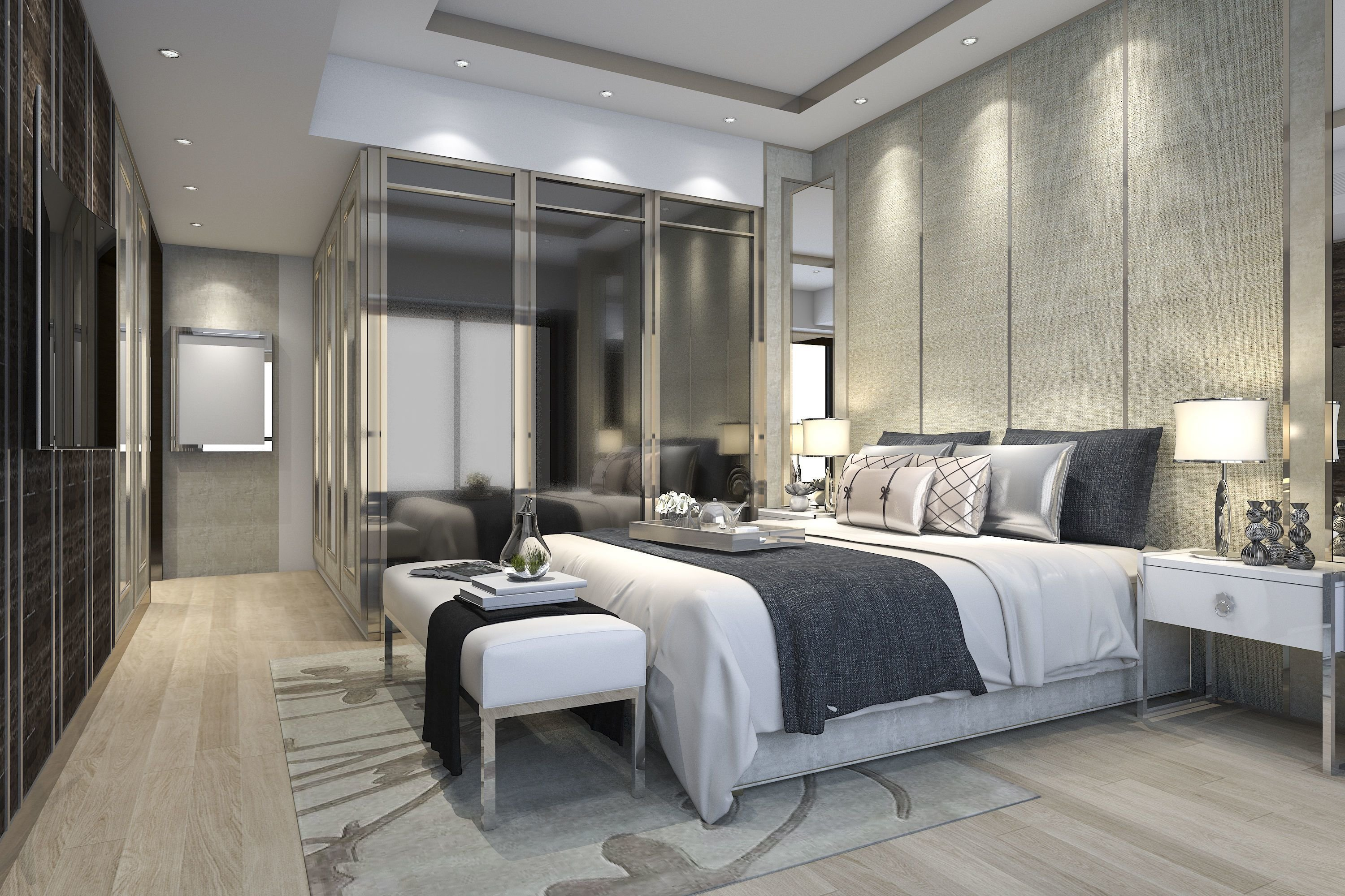 Best Luxury Modern Bedroom Suite In Hotel With Wardrobe 3D With Pictures