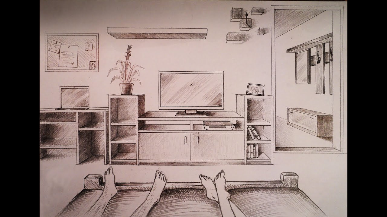Best How To Draw One Point Perspective Bedroom With Furniture With Pictures