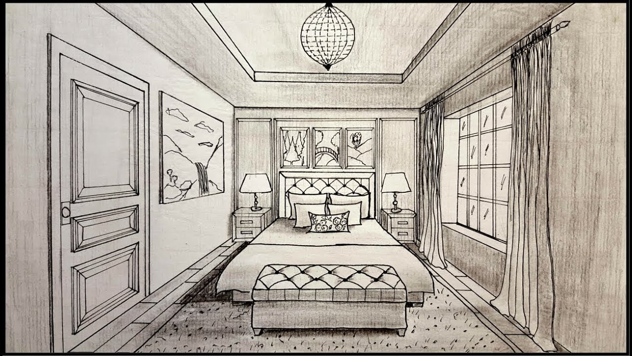 Best 1 Point Perspective Drawing Of A Bedroom Www Indiepedia Org With Pictures