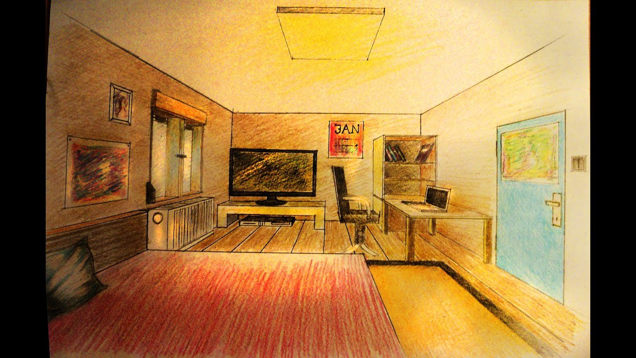 Best How To Draw One Point Perspective Bedroom With With Pictures