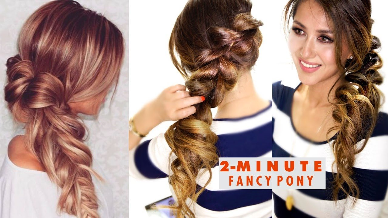 Free 2 Minute Fancy Pony Braid Hairstyle ★ Easy School Wallpaper