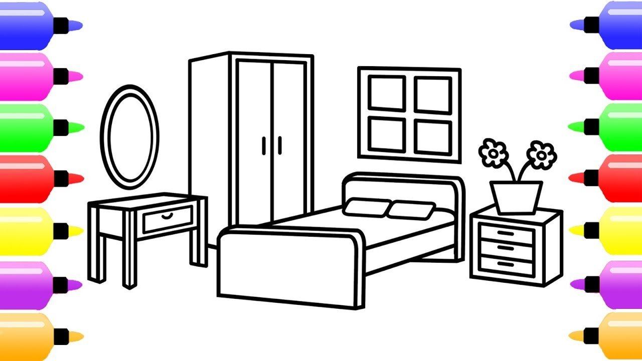 Best How To Draw A Bedroom For Kids Coloring Book For With Pictures