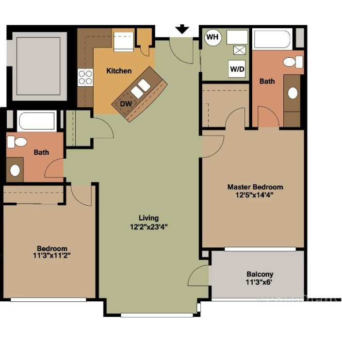 Best 2 Bedrooms Floor Plans Jackson Square With Pictures