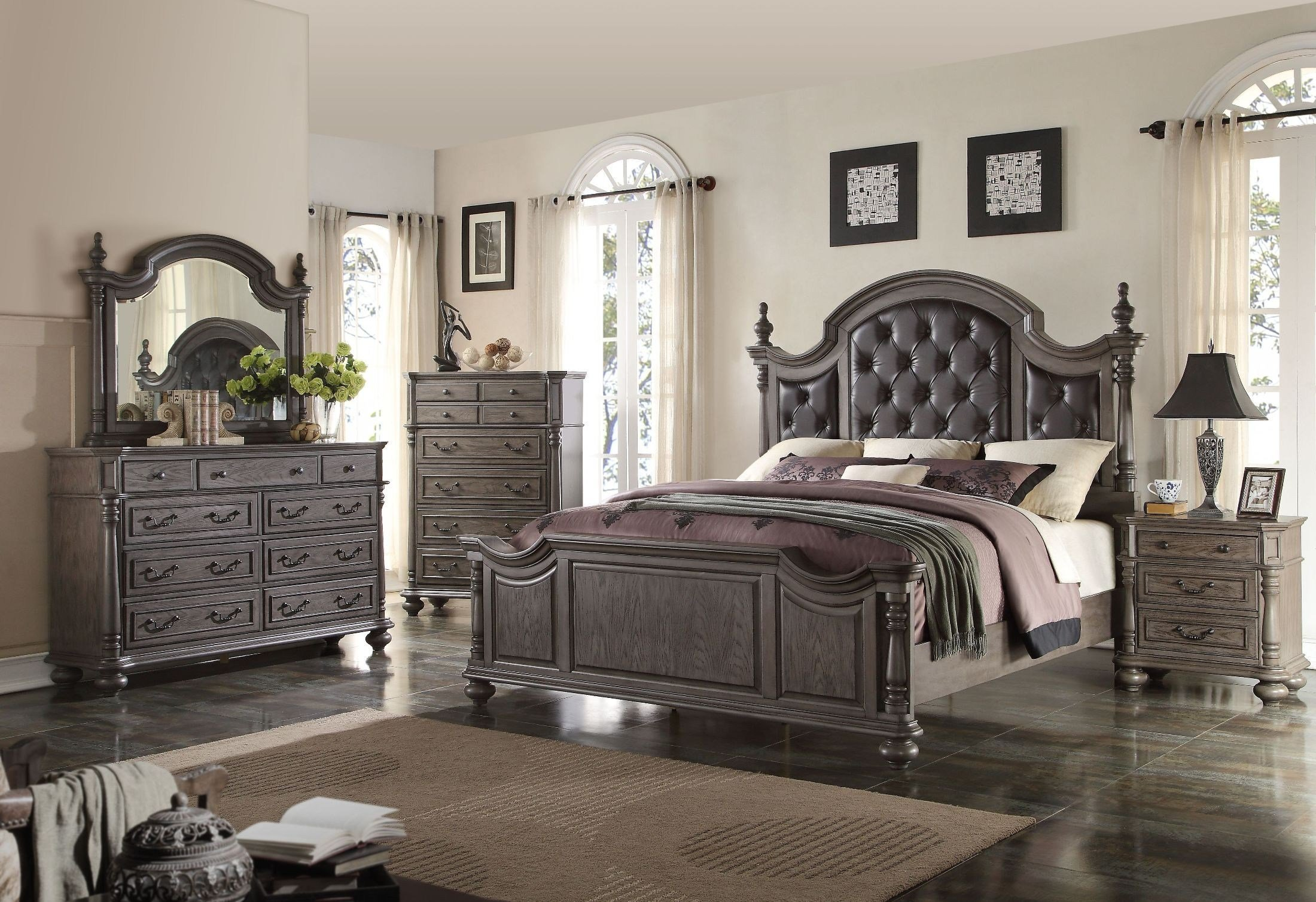 Best Monticello Dark Gray Poster Bedroom Set From New Classic With Pictures