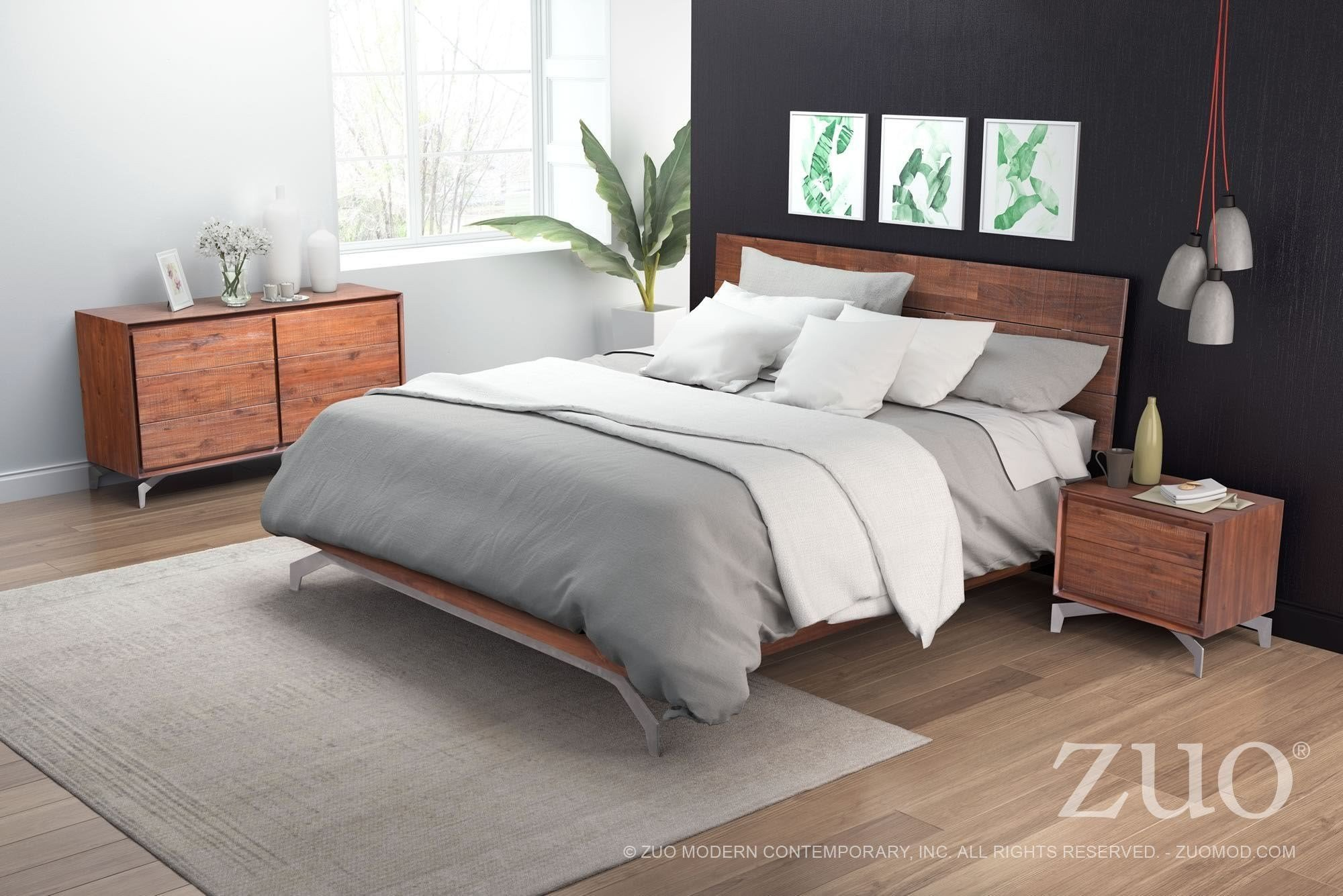 Best Perth Chestnut Platform Bedroom Set From Zuo Coleman With Pictures