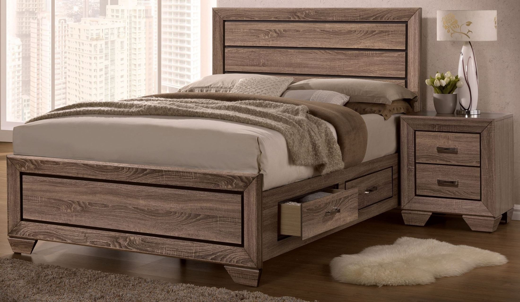Best Kauffman Washed Taupe Panel Storage Bedroom Set From Coaster Coleman Furniture With Pictures