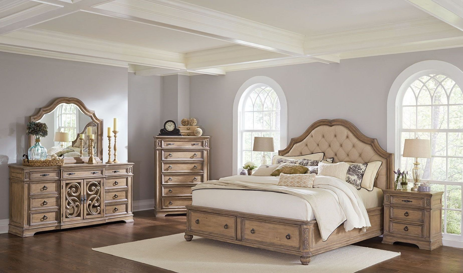 Best Ilana Antique Linen Panel Storage Bedroom Set From Coaster With Pictures