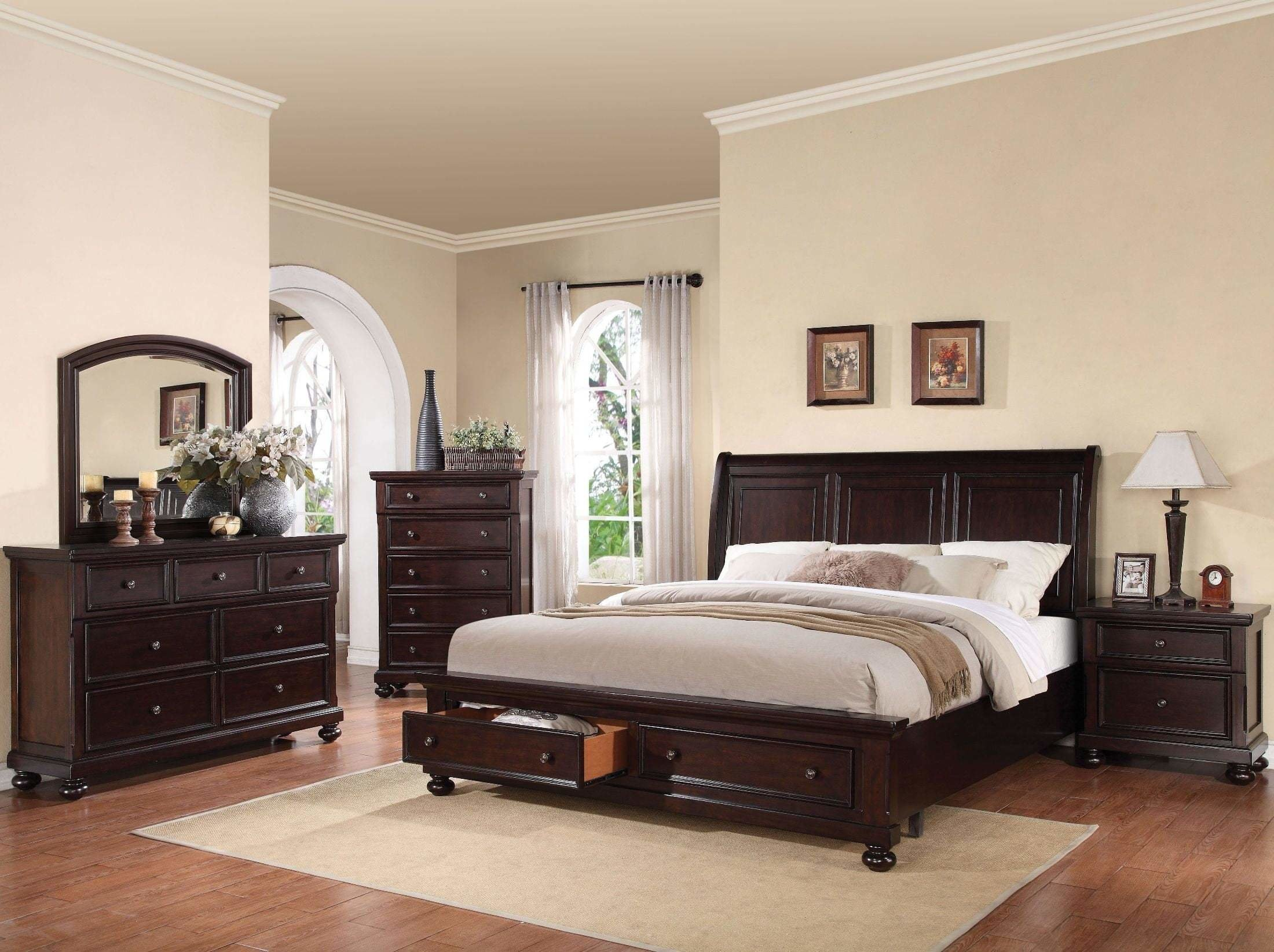 Best Grayson Dark Walnut Sleigh Storage Bedroom Set From Acme With Pictures