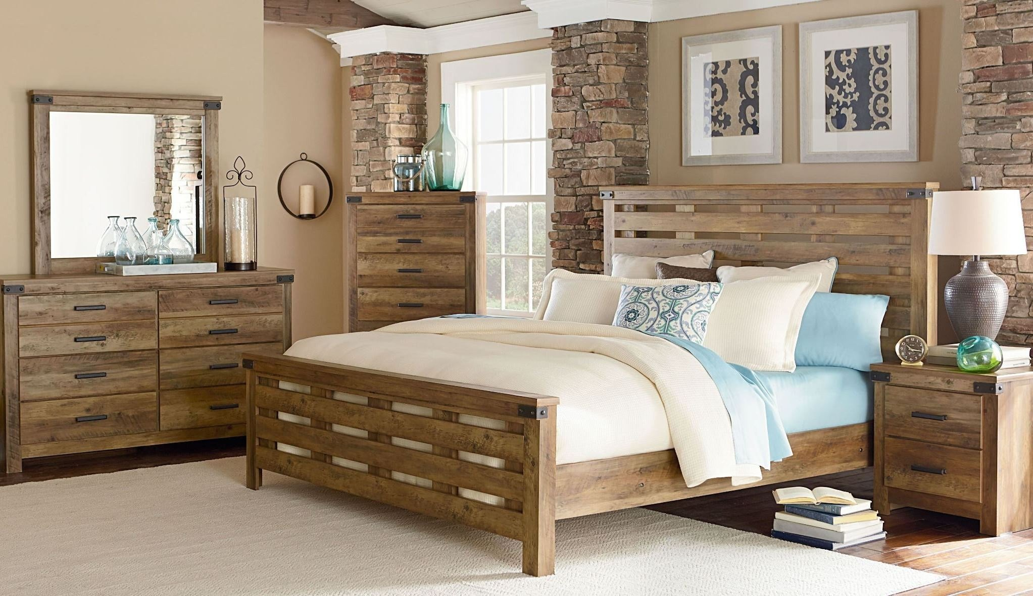 Best Montana Rustic Buckskin Panel Bedroom Set From Standard Furniture Coleman Furniture With Pictures