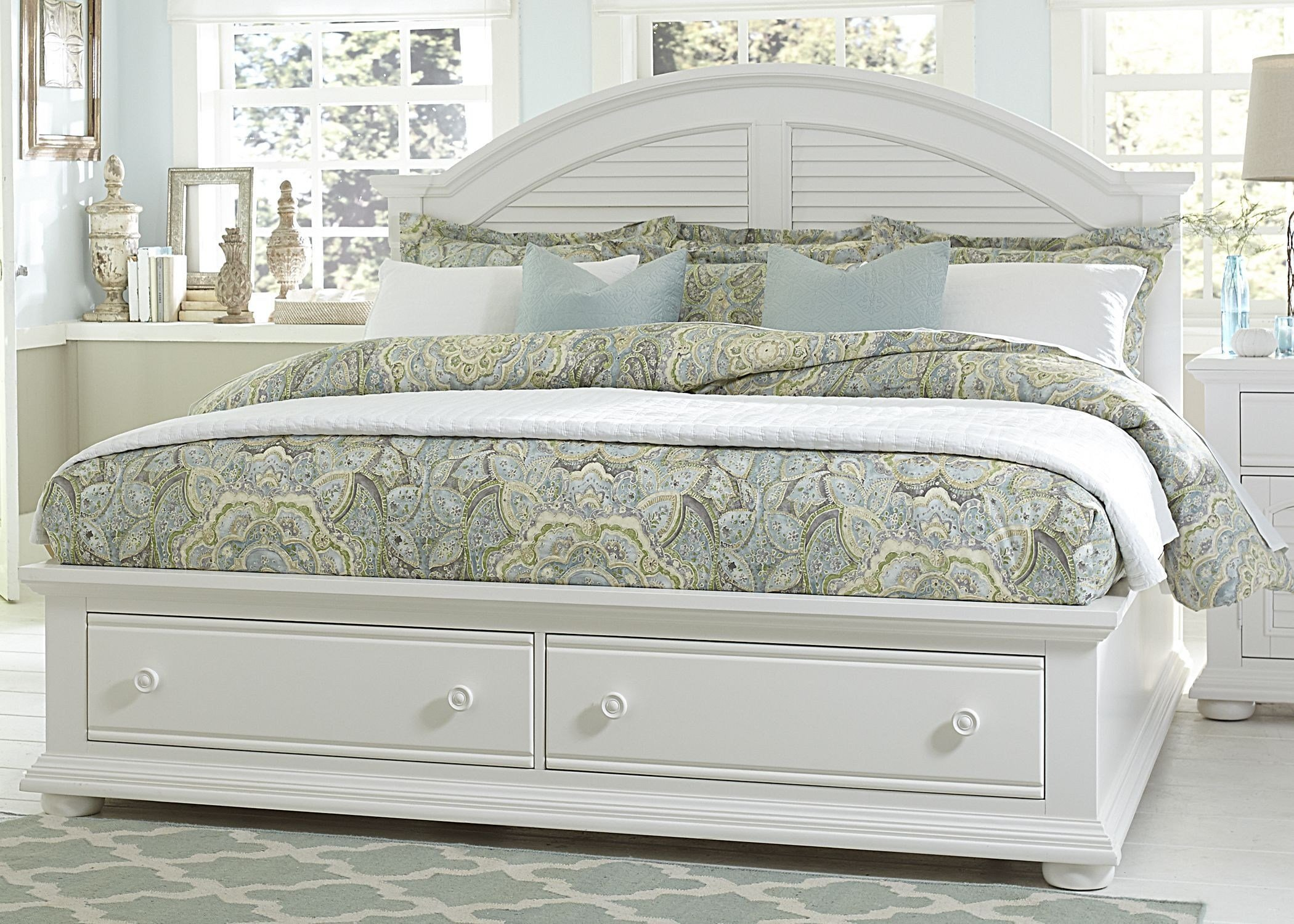 Best Summer House Oyster White Queen Panel Storage Bed From With Pictures