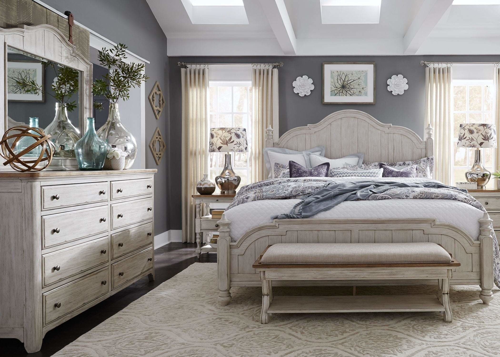 Best Farmhouse Reimagined Antique White Poster Bedroom Set From With Pictures