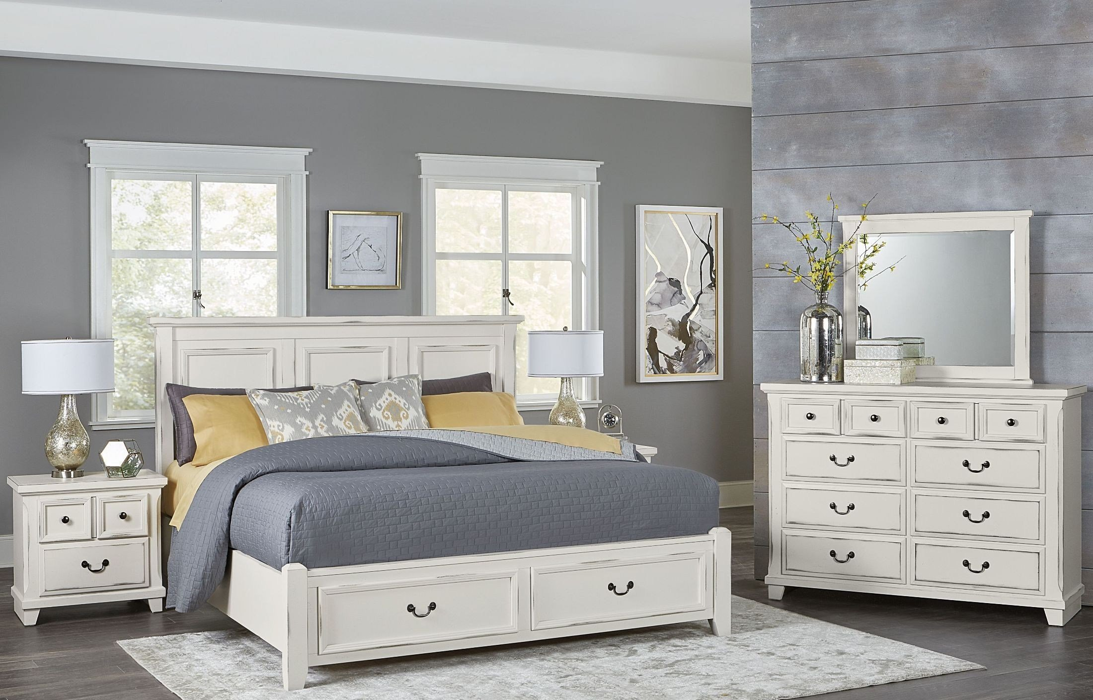 Best Timber Creek Distressed White Mansion Storage Bedroom Set With Pictures